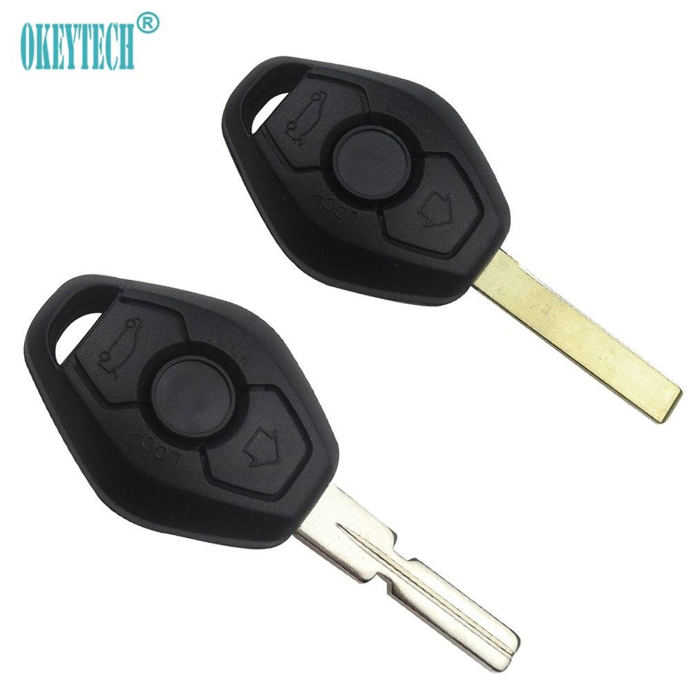 OkeyTech 3 버튼 UNCUT 자동차 키 원격 쉘 케이스 BMW 1 3 5 6 7 시리즈 Z3 Z4 X3 X5 M5 325i E38 E39 E46 자동 키