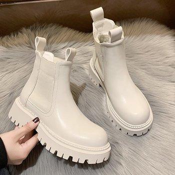 Jesień zima Chelsea Boots kobiety 2021 platforma brązowy czarny beżowy biały botki dla kobiet futro krótkie Chunky Punk Gothic buty tanie i dobre opinie LiomEnn Kwadratowy obcas SZTYBLETY CN (pochodzenie) ANKLE LEISURE ZSZYWANE Stałe Motorcycle Chelsea Boots Women Adult Krótki plusz