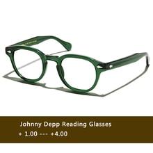 Зеленые очки для чтения с изображением Джони Деппа для мужчин и женщин ацетат Ретро пресбиопический диоптрий + 1,0 + 1,5 + 2,0 + 2,5 + 3,0 + 3,5 + 4,0 ручной работы