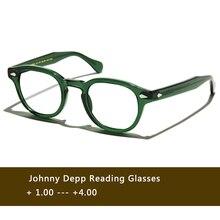 สีเขียวJohnny Deppแว่นตาผู้หญิงAcetate Retro Presbyopic Diopter + 1.0 + 1.5 + 2.0 + 2.5 + 3.0 + 3.5 + 4.0 Handmade