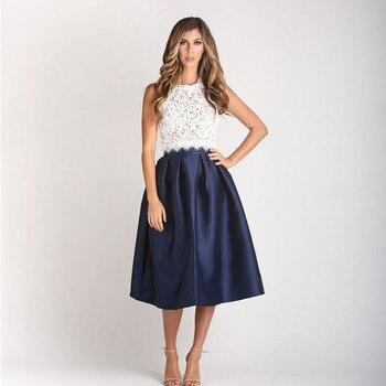 юбка Fashion Navy Blue Skirt Midi jupe kobieta spódnice Women Pleated Skirt Party faldas mujer moda