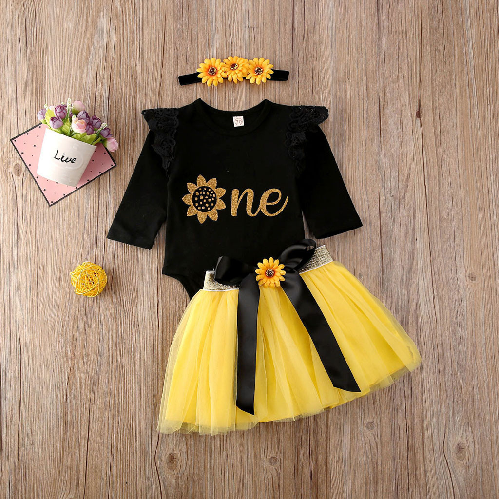 OCEAN-STORE Princess Dresses Baby Kids Girls Sleeveless Sunflowers Skirt Summer Clothes