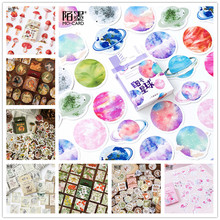 45 pcs/Box Cute Vaporwave Label Kawaii Diary Handmade Adhesive Paper Flake Japan Sticker Scrapbooking Stationery Stationery