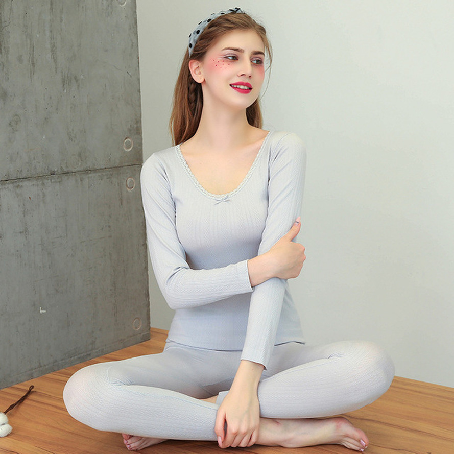 Ladies Thermal Underwear Body Lace Thermal Underwear Knitted Thermal Underwear Super Elastic Tight Tight Warm Girl Large Size