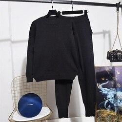 Осень-зима 2020, вязаный женский комплект, новая мода, однотонный Свободный пуловер с длинными рукавами + штаны для маленьких ног, Женский комп...