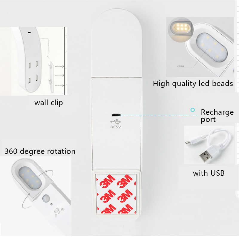 Sensor de movimiento PIR lámpara de noche portátil para armario USB recargable para armario escaleras batería lámpara de pared