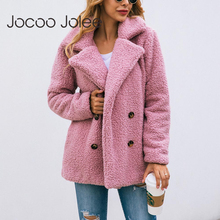 Jocoo Jolee Women Elegant Faux Fur Jackets Female Fashion Double-breasted Teddy Coats Warm Soft Overcoats Plus Size Outwear cheap Fur Faux Fur Wide-waisted Natural Color England Style REGULAR Button Thick Warm Fur Turn-down Collar Double Breasted Full