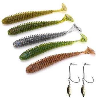 W kształcie litery T ogon robak kształt miękkie przynęty hak połowów 5 sztuk błyszczące miękkie sztuczne przynęty oprawa formy pudełko haka hak