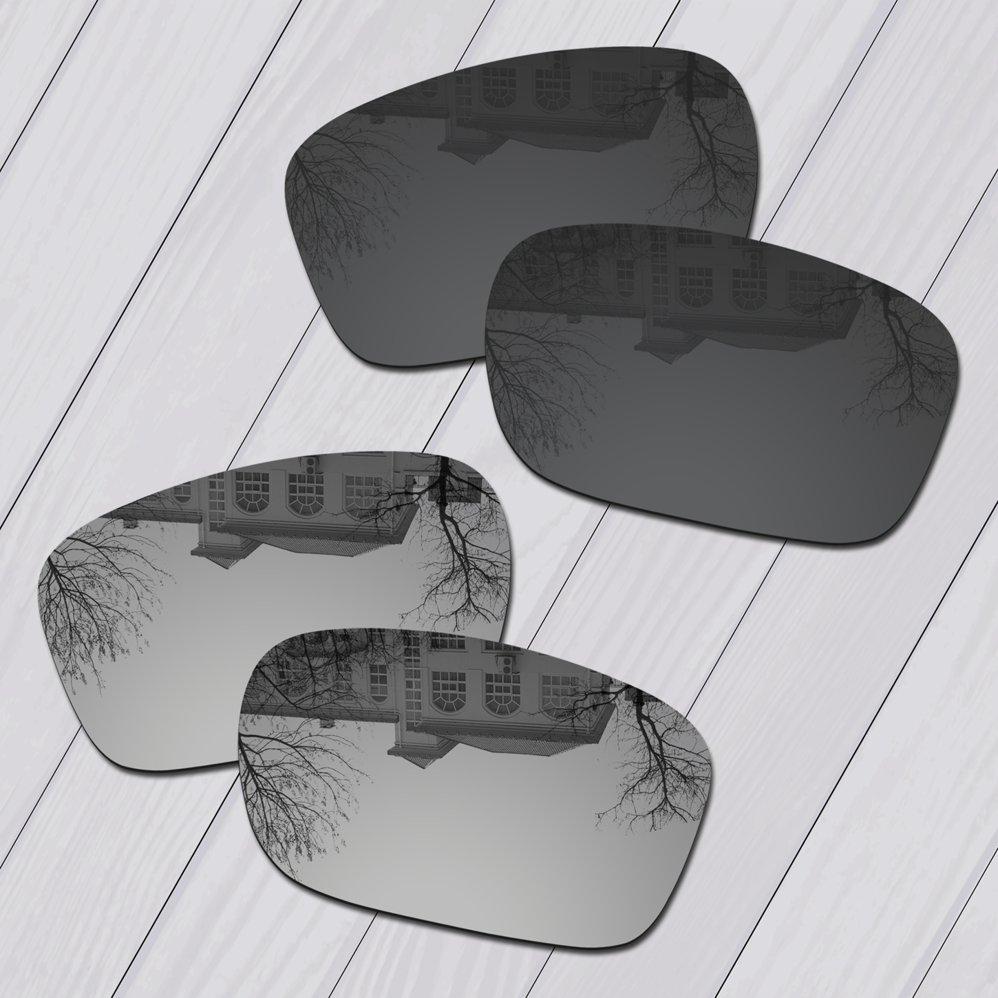 E.O.S 2 Pairs Black & Silver Polarized Replacement Lenses for Oakley TwoFace OO9189 Sunglasses