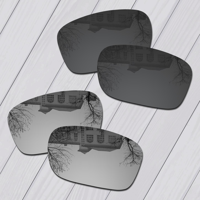 E.O.S 2 Pairs Black & Silver Polarized ReplacementLensesforOakleyTwoFace OO9189 Sunglasses