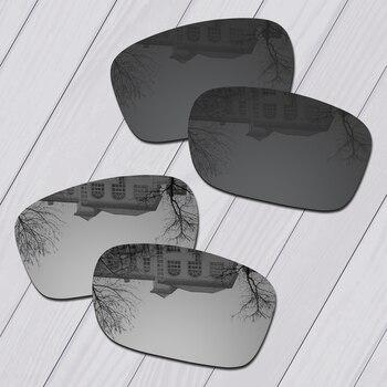 E.O.S, 2 pares, lentes de repuesto de policarbonato negro y plateado para gafas de sol Oakley Holbrook de Metal OO4123