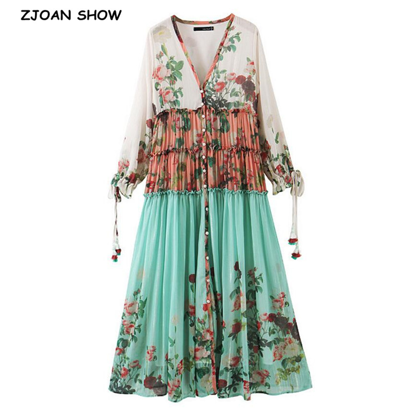 2020 Women V Neck Flower Print Single-breasted Buttons Long Sleeve Dress Holiday Spliced Wood Ears Ruffles Ruched Long Dresses