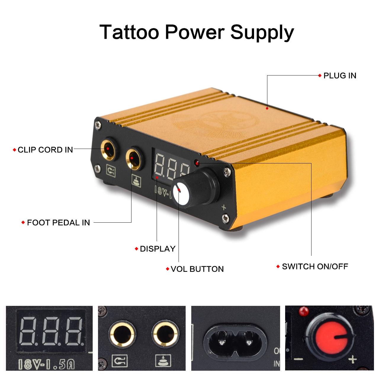 Профессиональный роторный тату-пулемет, набор для тату, машинка для перманентного макияжа тела, цветные чернила, источник питания, картридж, иглы 3