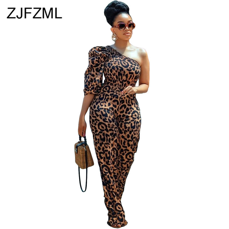 One Shoulder Sexy Leopard Bodysuit Women Backless Plus Size One Piece Jumpsuit Elegant Ladies Party Club Slim Fitted Playsuits