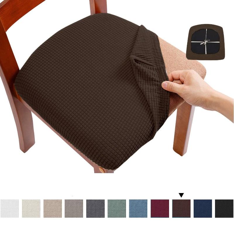 Jakarlı Spandex yemek sandalyesi koltuk kapakları çıkarılabilir yıkanabilir elastik yastık kapakları döşemeli yemek sandalyesi ziyafet