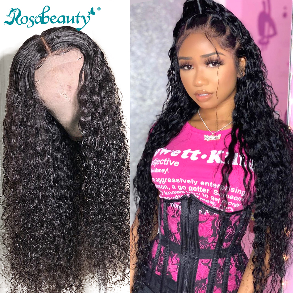 Rosabeauty 150 Density Malaysian Curly Lace Front Human Hair Wigs Pre Plucked With Baby Hair Closure Wig