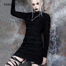 Женское платье с длинным рукавом yangelo готическое черное в