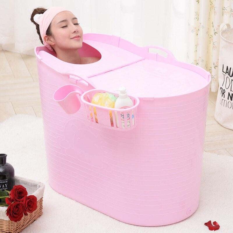 Épaissi dur en plastique adulte bain baril Extra grand bain baril enfants bain demi-pli baignoire baril de bain avec couvercle - 4