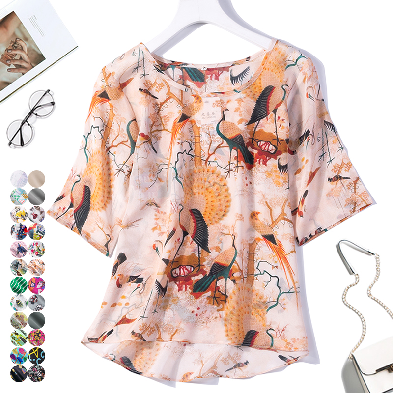 Women's 100% Pure Silk Top Shirt Blouse Round Neck Short Sleeves Printed Colors Size L XL JN121