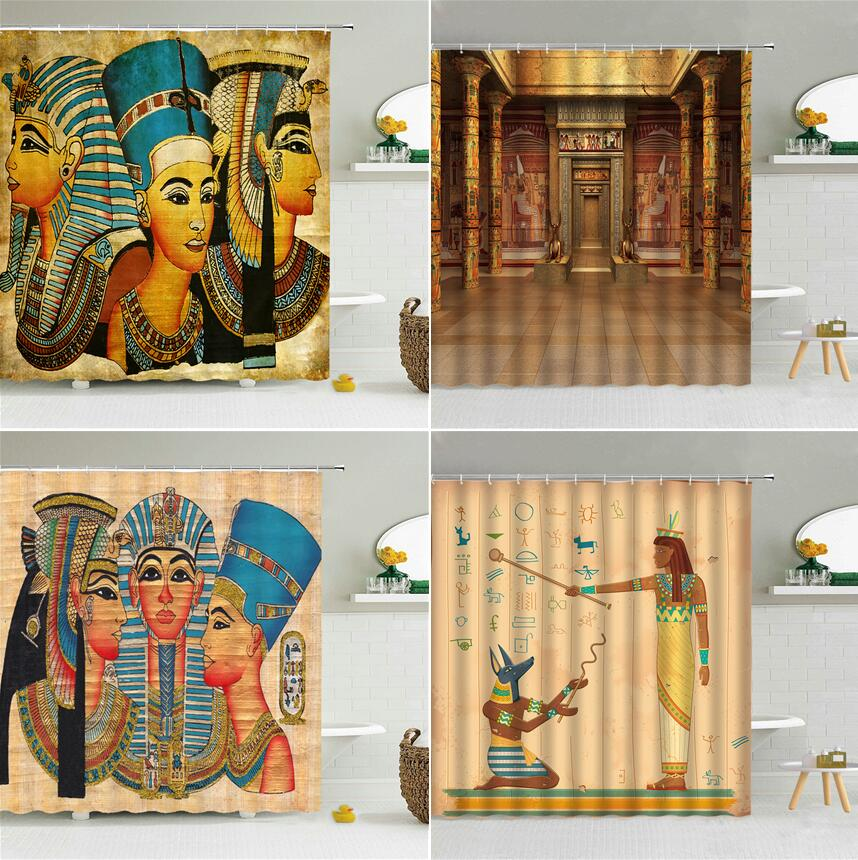Retro antigo egito estilo étnico cortina de chuveiro egípcio faraó costumes exóticos decoração do banheiro à prova dwaterproof água tecido ganchos cortinas
