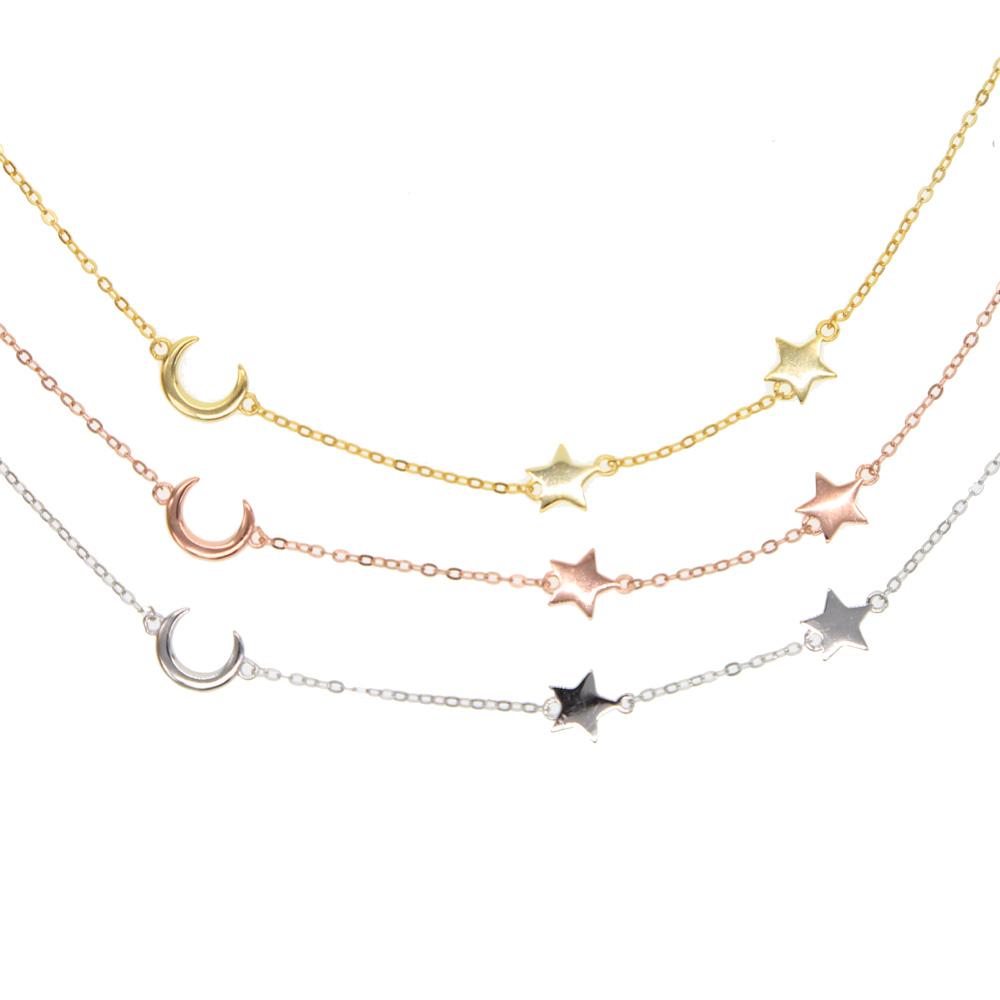 100% 925 sterling silver top quality moon star link chain lovely charming women girl gift fine silver minimal moon star necklace