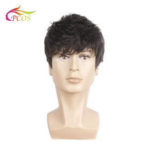 Short Shaped fluffy Synthetic Wig for Men Hair Fleeciness Realistic Natural Black Handsome Wigs