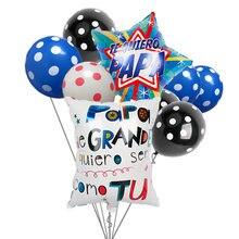 1 conjunto de balões espanhol feliz dia dos pais hélio globos feliz dia super papai foil balão pai mãe festa decoração globos