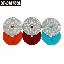 DT-DIATOOL Dia 100mm/4inch 3 Steps Wet Diamond Polishing Pads Resin Bond Sanding Discs For Marble Quartz Concrete Polisher Disc dt diatool 100mm 4 3 steps wet or dry premium high quality diamond polishing pads resin bond sanding discs for marble concrete