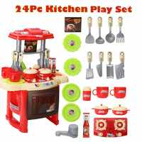 Children'S Play House Toys Kitchen Tableware Lighting Music Simulation Kitchenware Educational Toys