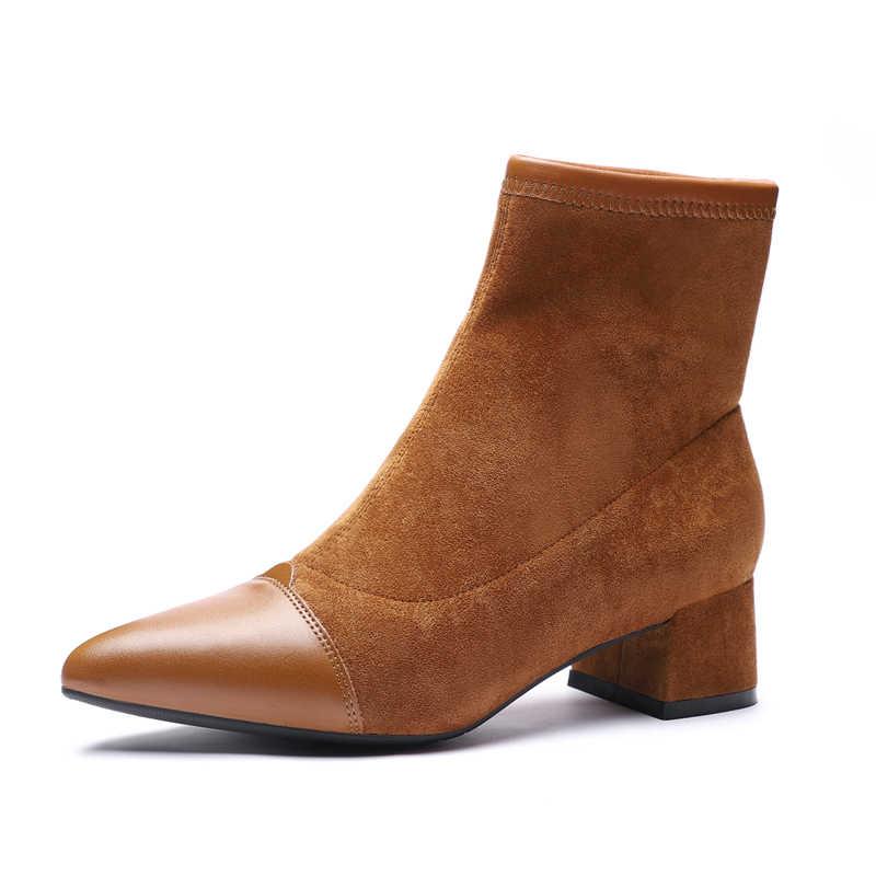 Giày Bốt Nữ Cổ Chân Cổ Ngắn Tăng Đàn Mũi Nhọn Gót Vuông Mùa Đông Sang Trọng Boot Người Phụ Nữ 2019 Slip On Giày Bốt Martin Đen màu Be