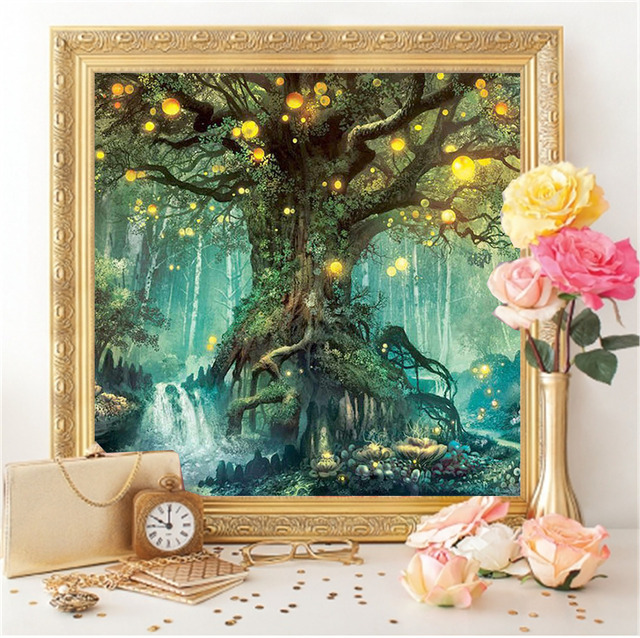 HUACAN Diamond Embroidery Landscape Diamond Painting Magic Tree Full Drill Square DIY Decoration Home Mosaic Dream