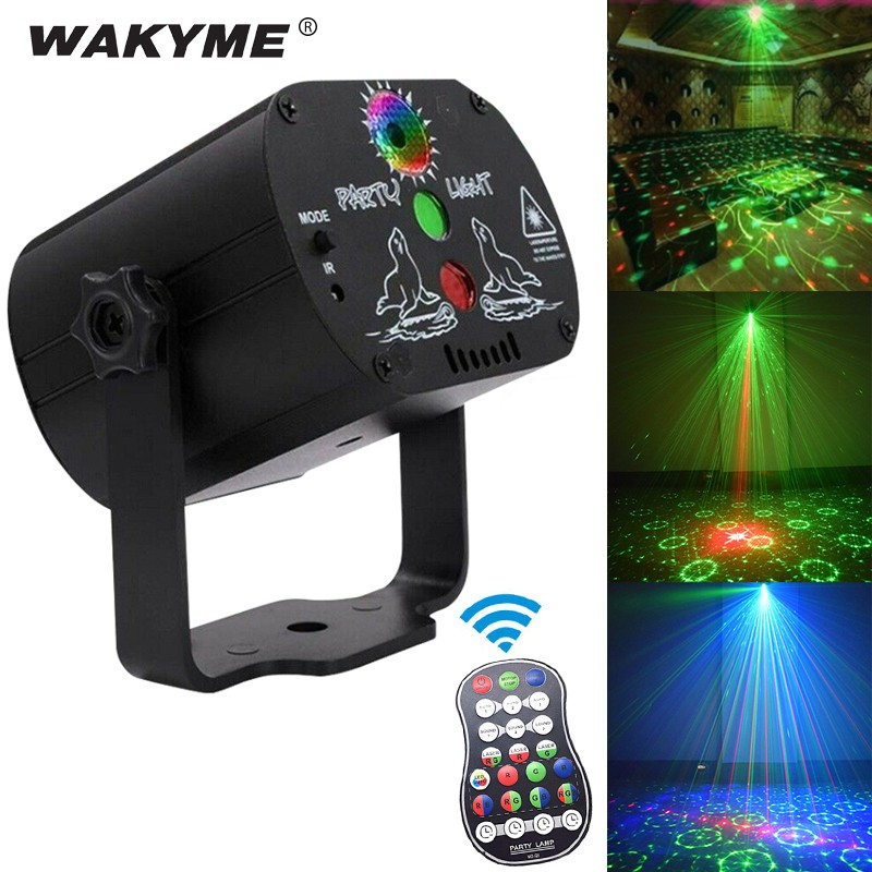 WAKYME Mini RGB Disco Light DJ Lights In Stage Lighting Effects Star Whirlwind Laser Projector Club Bar Party Light 60 Pattern