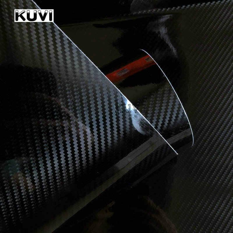 152 センチメートル pvc 5D 炭素繊維ビニール箔ラップロールステッカーデカール黒 diy 防水全天候粘着テープバック新