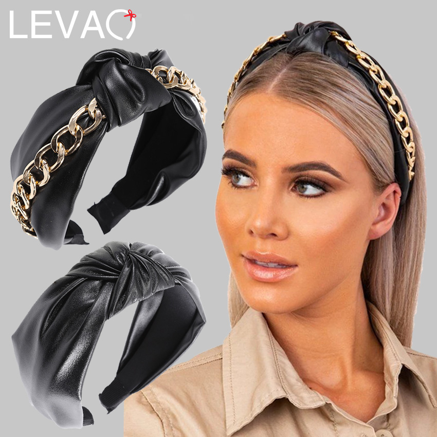 Levao Fashion Gold Chains PU Leather Hair Bands Hoop For Women Top Knotted Punk Headband Turban Hairband Girls Hair Accessories