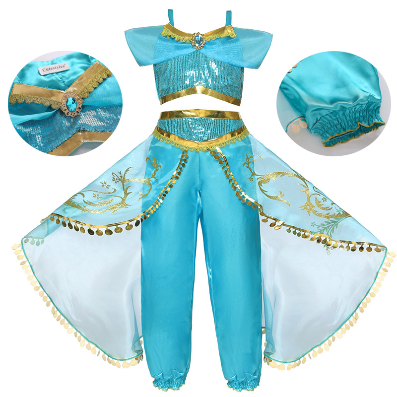 Little Girls Clothes Kids Cosplay Jasmine Princess Fancy Costume Children's Halloween Carnival Birthday Party Daughters Gift