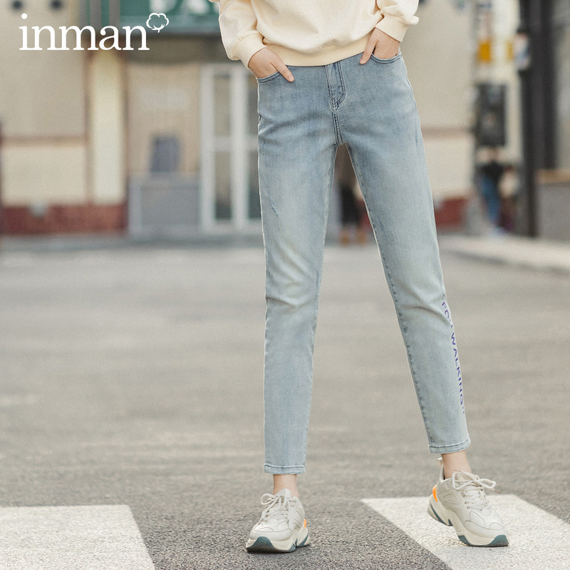 INMAN 2020 Spring New Arrival Literary Retro Letter Printed Medium Waist Wash Ankle-length Jeans
