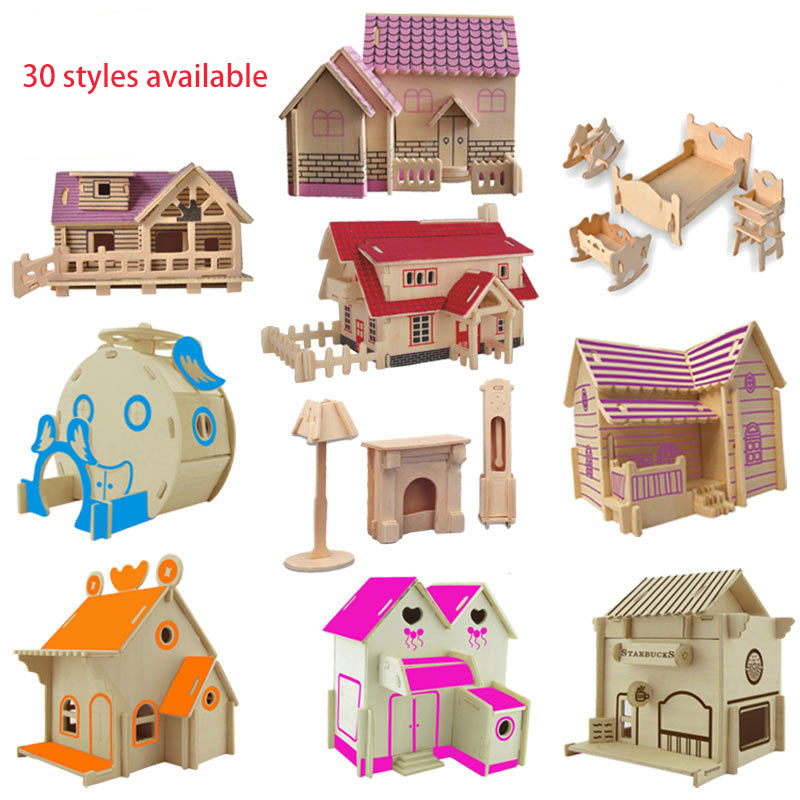 High Quality 3D Wooden Building Puzzle Small House Model 6-8 Years Old Children's Educational Toys Gift Cabin