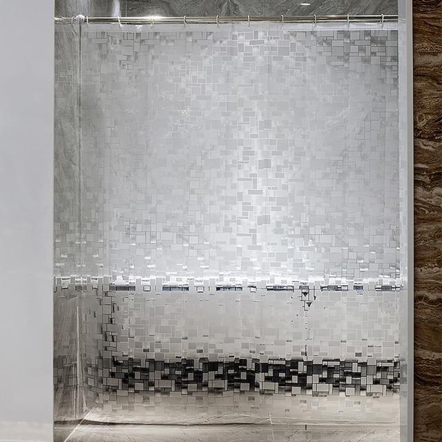 EVA kare duş perdesi şeffaf kalınlaşmış duş perdeleri 3D banyo perdesi Moldproof su geçirmez banyo malzemeleri