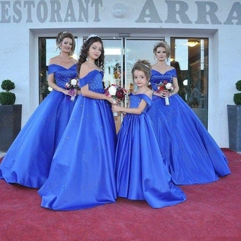 Royal Blue Flower Girl Dresses For Wedding Off Shoulder Beaded Satin Backless Girl Evening Dresses Kids Party Dress
