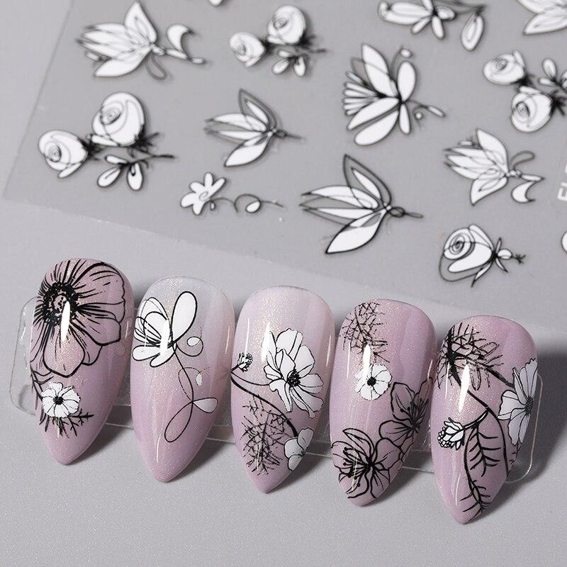 1 шт. 3D наклейки для ногтей с узорами в виде листьев черного и белого цветов, дизайн ногтей наклейки летние популярные художественные деколь ...