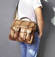 """Le'aokuu Men Leather Coffee document lawyer Briefcase maletas Business 13"""""""" Laptop Cases Attache Messenger Bags Portfolio B207"""
