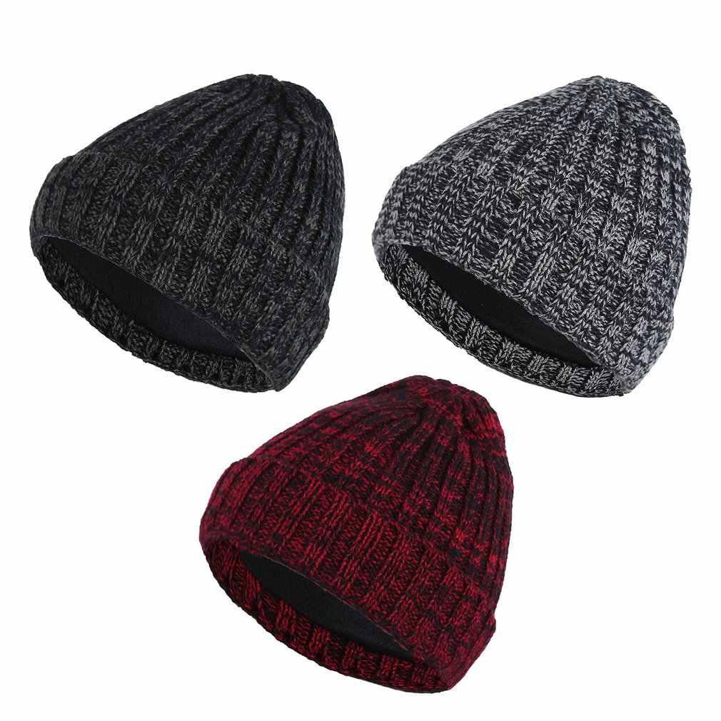 Verdicken Mützen Winter Hüte Für Frauen Männer Gestrickte Woolen Hut Caps Casual Unisex Einfarbig Hip-Hop Skullies Beanie Warme Kappe