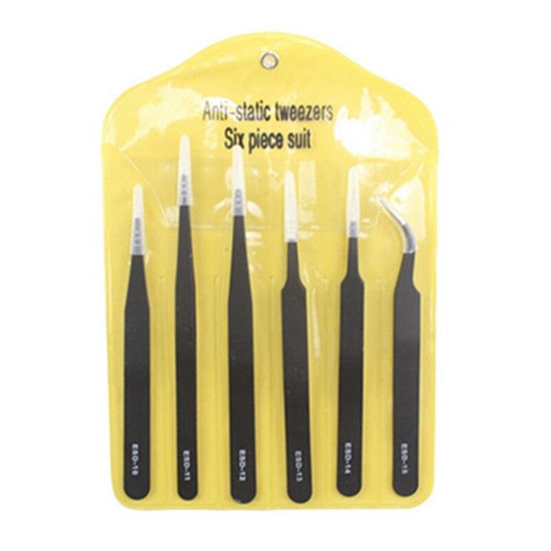 2/6pcs ESD Anti-Static Stainless Steel Tweezers Set Maintenance Repair Tool Kit Anti Static Model Making Tool Hand Tool Sets