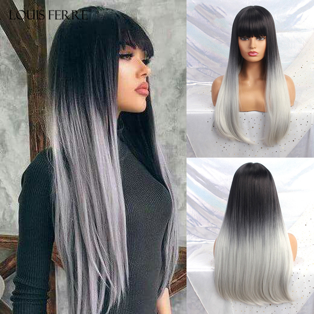LOUIS FERRE Long Straight Synthetic Wigs With Bangs Ombre Black White Wigs For Black Women Afro Heat Resistant Fiber Fake Hair