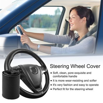 4 Color DIY Texture Soft Auto Car Steering Wheel Cover With Needles And Thread Artificial Leather Car Styling Covers Suite Hot image