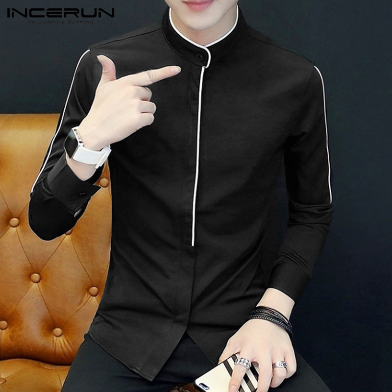 INCERUN Fashion Men Dress Shirt Solid Long Sleeve Fitness Stand Collar Party Street Business Social Shirts Men Camisa Plus Size