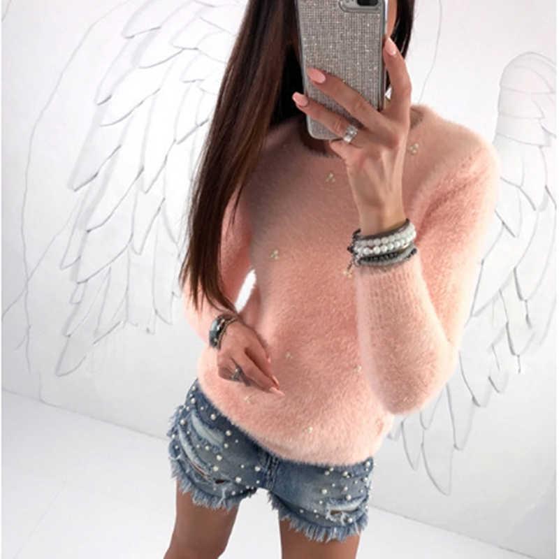 Женский джемпер-блузка с длинным рукавом и круглым вырезом, однотонный пуловер, топ, украшенный жемчугом, плотный теплый офисный женский зимний свитер для отдыха