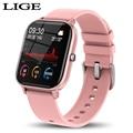LIGE Neue P8 1,4 zoll Full Touch Frauen Digitale Uhren Wasserdichte Sport Für xiaomi iPhone Multifunktionale Elektronische Uhr Männer