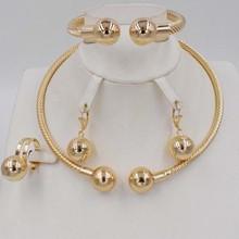 Gorąca sprzedaż zestaw złotej biżuterii Dubaj dla kobiet afryki koraliki ślubne zestaw biżuterii naszyjnik zestaw kolczyków tanie tanio RJECADU Copper Alloy Kobiety NT0168 Moda Round Klasyczny Naszyjnik kolczyki pierścień bransoletka RING Earrings necklace bracelet