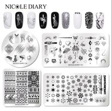 NICOLE NHẬT KÝ Móng Dập Tấm Hình Chữ Nhật Vuông Tròn Thế Giới Động Vật Loạt Móng Tay Nghệ Thuật Hình Ảnh Đĩa Chữ Nhật Stencil cho Móng